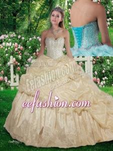 2016 Elegant Brush Train Beading Champagne Quinceanera Dresses