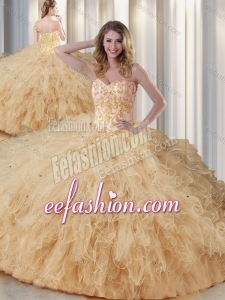 2016 Exquisite Sweetheart Champagne Quinceanera Dresses with Appliques and Ruffles