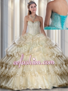 2016 Hot Sale Sweetheart Beading and Ruffled Layers Champagne Quinceanera Dresses
