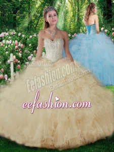2016 Luxurious Ball Gown Champagne Quinceanera Dresses with Beading