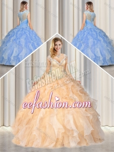 2016 Pretty Straps Champagne Quinceanera Gowns with Beading and Ruffles