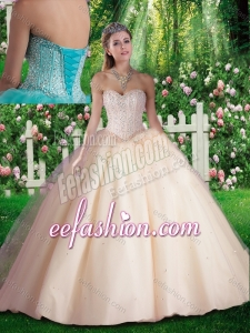 2016 Simple Beading Champagne Quinceanera Dresses for 16 brithday Party