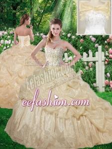 Beautiful Beading 2016 Sweet 16 Champagne Dresses with Brush Train