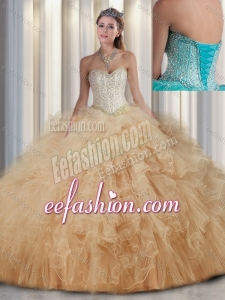 Beautiful Sweetheart Champagne Quinceanera Dresses with Beading and Ruffles for Fall