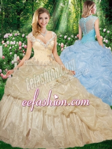 Gorgeous Straps Brush Train Champagne Quinceanera Gowns with Beading