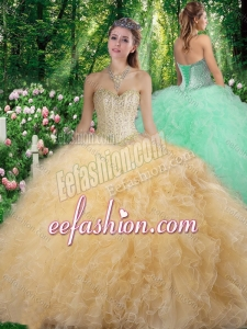 Gorgeous Sweetheart 2016 Champagne Quinceanera Dresses with Beading and Ruffles