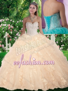 Latest Ball Gown Beading and Ruffles Champagne Sweet 16 Gowns for Fall