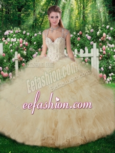 New Arrivals Straps Champange Sweet 16 Gowns with Beading