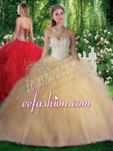 Pretty Ball Gown Beading and Ruffles Champagne Sweet 16 Gowns