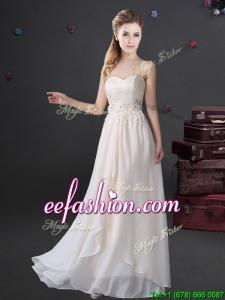 2017 Beautiful Applique and Laced Sweetheart Long Dama Dress in Chiffon