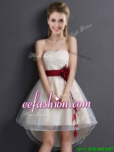2017 Classical High Low Sweetheart Champagne Dama Dress in Organza