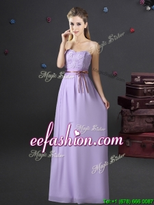 2017 Exquisite Belted and Applique Laced Long Prom Dress in Lavender