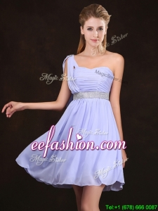 2017 Modern Ruched Bodice and Sequined Short Prom Dress in Lavender