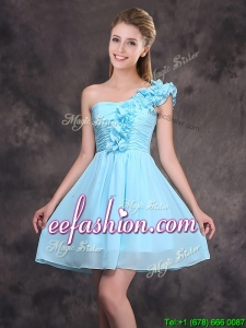 2017 Simple Ruffled Decorated One Shoulder Chiffon Short Prom Dress