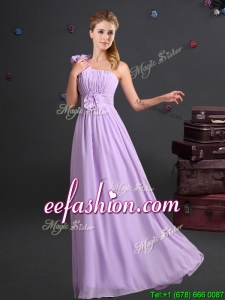 2017 Sweet One Shoulder Lavender Dama Dress with Ruching and Handmade Flowers