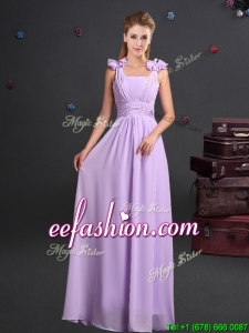 2017 Wonderful Straps Handcrafted Flowers Chiffon Prom Dress in Lavender