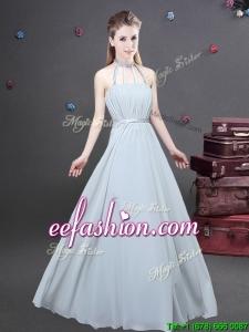 Cheap Halter Top Chiffon Long Prom Dress with Ruching
