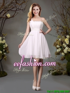 Discount One Shoulder White Prom Dress with Beaded Top