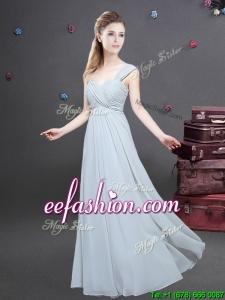 Elegant One Shoulder Ruched Decorated Bodice Dama Dress in Chiffon