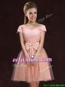 High End Lace and Tulle Short Prom Dress with Off the Shoulder