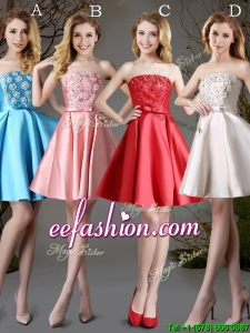 New Arrivals Strapless Satin Short Prom Dress with Appliques and Bowknot