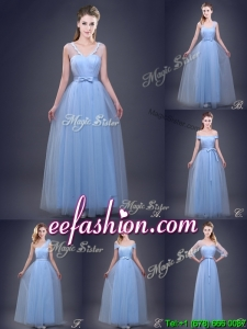 New Empire Bowknot and Ruched Prom Dress in Light Blue