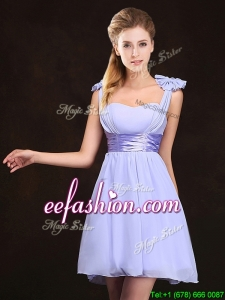 Trendy Empire Straps Lavender Dama Dress with Bowknot for 2017