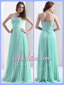 2016 Cheap Beading and Sequins Apple Green Prom Dresses with Brush Train