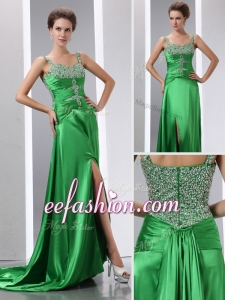 2016 Cheap Column Beading and High Slit Prom Dresses with Court Train