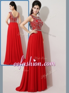 2016 Cheap Empire Bateau Brush Train Prom Dresses with Beading