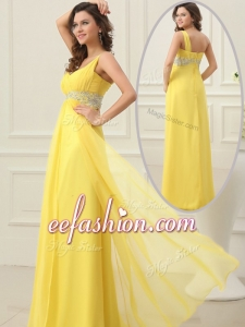 2016 Cheap Empire One Shoulder Beading Prom Dress in Yellow