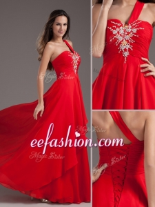 2016 Cheap Empire One Shoulder Red Prom Dress with Beading
