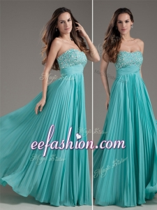 2016 Cheap Empire Strapless Turquoise Long Prom Dress