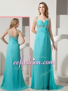 2016 Cheap Empire Straps Beading Turquoise Prom Dresses with Brush Train