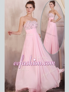 2016 Cheap Empire Sweetheart Beading Baby Pink Prom Dress