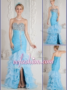 2016 Cheap Mermaid Sweetheart Beading and Ruffled Layers Aqua Blue Prom Dresses