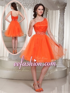 2016 Cheap One Shoulder Beading Short Prom Dress for Party