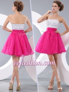 2016 Cheap Princess Strapless Short Prom Dresses with Beading