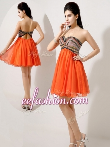 2016 Cheap Short Orange Red Prom Dresses with Beading and Sequins