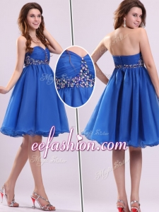2016 Cheap Short Sweetheart Beading Prom Dress in Blue