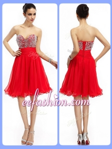 2016 Cheap Short Sweetheart Beading Prom Dresses in Red