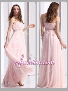 2016 Cheap Strapless Beading Long Prom Dresses in Baby Pink