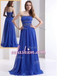 2016 Cheap Strapless Empire Blue Prom Dresses with Ruching and Beading
