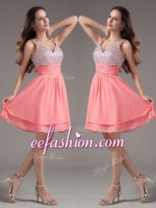 2016 Cheap Straps Beading Short Watermelon Prom Dresses