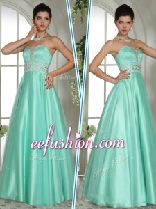 2016 Formal A Line Sweetheart Beading Prom Dresses in Apple Green