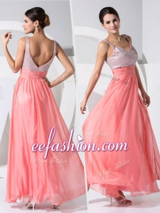 2016 Formal Empire Straps Sequins Prom Dresses in Watermelon