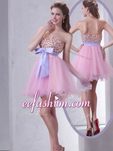 2016 Formal Sweetheart Beading Pink Short Prom Dress for Cocktail