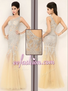 2016 Gorgeous Mermaid One Shoulder Beading Prom Dresses in Champagne