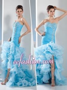 2016 Gorgeous Mermaid Sweetheart Ruffled Layers Prom Dress in Aqua Blue