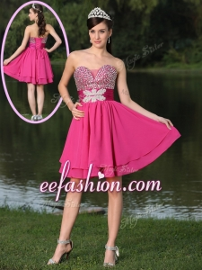 2016 Inexpensive Short Sweetheart Beading Prom Dresses in Hot Pink